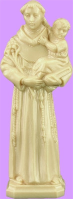 """3"""" Statue-St. Anthony Statue is carefully crafted and molded in Vinyl  with an exclusive process, for years of lasting use."""
