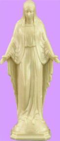 "3"" Our Lady of Grace Statue is carefully crafted and molded in vinyl with an exclusive process, for years of lasting use."