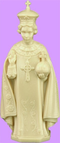 "4"" Infant of Prague Statue is carefully crafted and molded in vinyl with an exclusive process, for years of lasting use."