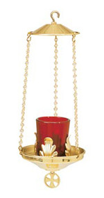 "Hanging Votive Lamp K163 ~ Brass two-tone. 11"" height overall. Glass not included"