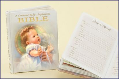 "An illustrated Baptismal Bible for a Catholic baby that comes complete with certificate and family history pages. White Padded Hardcover with Gold edges. 3 1/2 x 4 1/2"" ~ 96 pgs ~ Gift boxed."