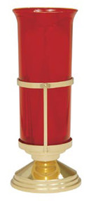 """Sanctuary Lamp - K179 - Brass, high polish finish. 7 3/4"""" height. 5"""" base. Glass not included"""