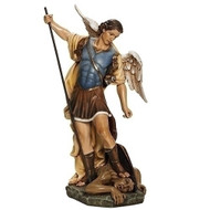 "Saint Michael, Patron Saint of Policeman, Fireman & Armed Forces. Resin/Stone Mix ~ 26.5""H 1x 5.25""W x 13""D"