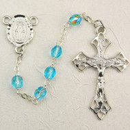 Aqua Colored Crystal Bead Rosary