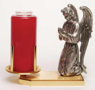 """Devotional Candle Holder is 24K gold and antique silver plated. Measurements: 8 3/4"""" H. x 9 12""""W. Weight: 7 lbs. Candle NOT INCLUDED"""