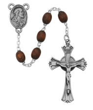 6X8mm Brown Wood Rosary. Pewter Crucifix and Head of Christ Center. Deluxe Gift Box Included