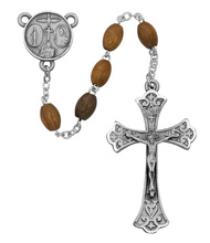 5 x 7mm Olive Wood Oval Beads. Sterling Silver or  Pewter 4 Way Medal Center & Crucifix. Deluxe Gift Box included