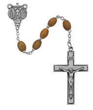 Brown Oval Shaped Olive Wood Beads with pewter crucifix and 4-way medal centerpiece. Deluxe Gift Box included