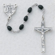 4 x 6mm Black Oval Glass Bead Rosary. Silver Oxidised 4-way Medal Center and Crucifix. Deluxe Gift Box Included