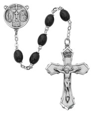 "139L-BKF  - 6 X 8mm Black Wood Bead 23"" Rosary. Sterling (4-way medal) Center and Crucifix. Deluxe Gift Box Included"