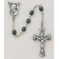 Sterling Silver Oval  Hematite beads. Center is the head of Christ