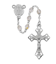 6mm Crystal Beads Rosary. Rosary as a rhodium Miraculous Medal Center and Crucifix. Deluxe Gift Box included