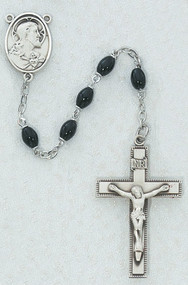 4mm x 6mm Black Oval Glass Bead Rosary. Pewter Sacred Heart of Jesus Center and Crucifix. Deluxe Gift Box Included.