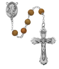 7mm Round Olive Wood Beads. Sterling Silver or Silver Oxidized Sacred Heart of Jesus Center & Crucifix. Deluxe Gift Box included