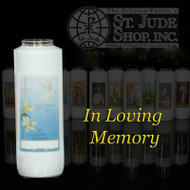 """In Loving Memory, 6 Day Bottle Lights-Nonreusable-  All Soul's Day.....""""I am the resurrection and the life, says the Lord. If anyone believes in me, even though he dies, he will live. Anyone who lives and believes in me, will not die"""" - (Jn 11:25-26)   There is an area on the candles provided for names of deceased  to be inscribed. A symbolic remembrance for the spouse or family member to take home. 6 Day Bottle Globe and the 3/6 Day Reusable Globes can be purchased individually or as a case (12 per case)."""