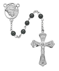 Rosary consists of 6mm Hematite Beads. The  Head of Christ Centerpiece and crucifix are rhodium. Deluxe Gift Box included