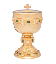 """24Kt gold plate, 8 3/4""""H., genuine jade and mother of pearl stones on cup, node and base. 300 Host Ciborium, based on 1 3/8"""" host"""
