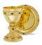 """24kt Gold Plated Chalice and Footed Paten,Genuine Jade and Mother of Pearl, Abbott Suger Style; Ht. 7 ½"""".,  18 oz.,  7 7/8"""" footed paten. Modern version of the Abbott Suger. Genuine sapphire and mother of pearl stones. Silver Plate and Sterling Silver Versions Available ~ Engraving Available"""