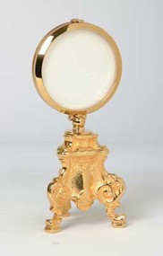 """7-1/2""""H Bright gold plated Chapel Monstrance with 2-3/4"""" fixed luna. 3"""" Cast Brass Base."""