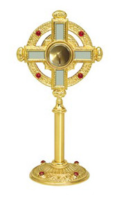 "Chapel Monstrance K155-Smaller Size Ostensorium for the Chapel. Secure acrylic glass luna for 2 3/4"" host. 15""H., 6"" base. Eight ruby glass stones. Gold plated with center cross in silver finish. Carrying case (K159) available"