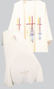 Resurrection Mass Set Funeral Pall with Cross, Chalice & Wheat Design Tailored in no iron textured polyester. Coordinating Funeral Chasuble  (857A) and Overlay Stole (60) are sold individually. Genuine Swiss Schiffli embroidery has been generously applied in a combination of multi and single color embroideries, front and back.