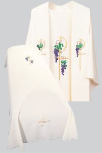 Resurrection Mass Set Funeral Pall with the Grapes & Chi Rho Design embroidered. Tailored in no iron textured polyester. Coordinating Funeral Chasuble (845A) and Overlay Stole (709) are sold individually. Genuine Swiss Schiffli embroidery has been generously applied in a combination of multi and single color embroideries, front and back.