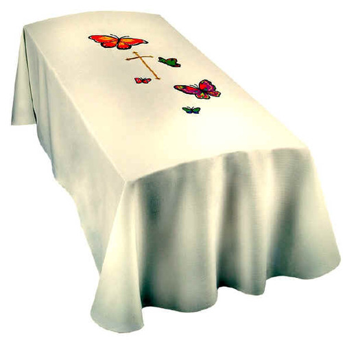 Top Quality White colored fabric with crosss at center surrounded by colorful butterflies.  Infant & Child Sizes available. You may also add a memorial label for an additional cost. In Memory of...please add name to text box if you wish to have one made for pall. Two or three lines.. only 25 characters per line
