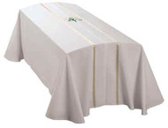 White Fabric with lily design on top. Available in three sizes. Memorial Label available at no charge.  1st Line reads: In Memory of...2nd Line: Type in Name Matching Chasuble available (G68319A)