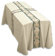Top Quality Cream colored fabric with Children of the World banding, Cross in center. Infant & Child Sizes available. 2 Line Memorial Labels available at no charge.  In Memory of...please add name to text box if you wish to have one made for pall.