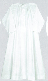 Image of a permanent press, combed cotton alb, which is a white and ankle-length garment.