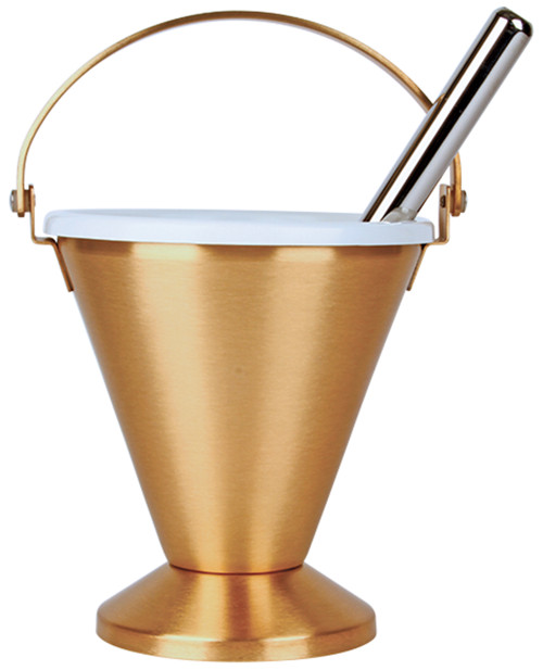"""Bronze Holy Water Pot with removable liner. Dimensions are  7""""H. x 6-1/2""""D. Includes 9-3/4""""L Sprinkler."""