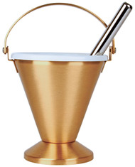 "Bronze Holy Water Pot with removable liner. Dimensions are  7""H. x 6-1/2""D. Includes 9-3/4""L Sprinkler."