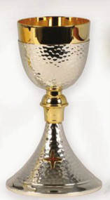 "Gold and silver plated. 8"" H., 3 3/8"" diameter cup, 4 1/2"" base, 8 oz. capacity"