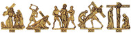 Stations of the Cross. 24k gold plated (14) Stations only, no plaque. Average size of figures 7˝H. x 6˝W.