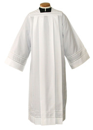 """Alb made with Silky Smooth Poplin fabric and 2"""" Lace Bands"""