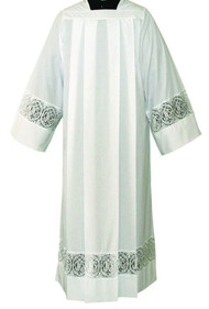Image of an alb with lace bands on the sleeves and hem. Lace is available in two different designs. IHS or Alpha Omega design