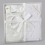 Three Piece Baptismal Set includes a Bib, Socks, and Blanket. Set is made of Polyester/Cotton, Spandex and Satin fabric.