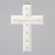 "Bas Relief 6.5"" Baptism Wall Cross  for a boy. This Baptism gift will be a delightful addition to the baby's nursery. It comes boxed for Baptism gift giving. Measures 6.5""H x 4.25""W x .5""D. Made of Resin/Stone Mix."