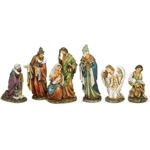 """16""""H Nativity 6 pc Set. this Nativity Set includes, the Holy Family,  the Three Wisemen, and an Angel and Shepherd. the Nativity is made of a Resin/Stone Mix"""