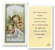 "Clear, laminated Italian holy cards with Gold Accents. Features World Famous Fratelli-Bonella Artwork. 2.5'' x 4.5''  ""Now I lay me down to sleep, I pray thee, Lord, my soul to keep.  See me safely through the night and wake with the morning light. Amen."""