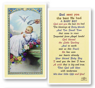 God Sent You a Baby Boy, Laminated Holy Card