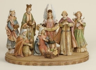"8 Piece Nativity in a woodlile finish. Nativity Set has a woodlike appearance and is made of a resin/stone mix.  Nativity measures 21.25""H x 4.5""D and sits on a 17"" Base."