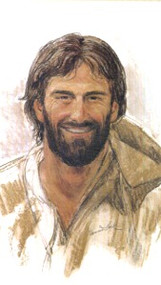 """Smiling Jesus Paper or Laminated Holy Card. Measures 2 1/2"""" x 4 1/4"""". Back of the holy card is the prayer:  """"Lord, Help me to remember that nothing is going to happen to me today that You and I together can't handle""""."""