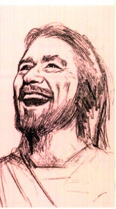 """Smiling Jesus Paper or Laminated Holy Card. Measures 2 1/2"""" x 4 1/4"""". Back of the holy card is the prayer:  """"Smile, God Loves You""""."""