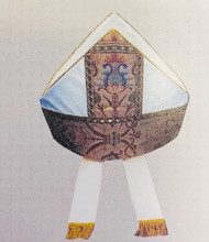 For sizing, measure circumference of head where the Mitre should sit.
