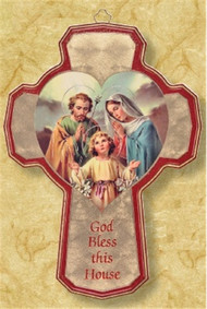 "Fill your home with blessings with this beautifully painted Holy Family Wooden Cross. With a message that reads: ""God Bless this House"", this cross makes an ideal addition to any home."