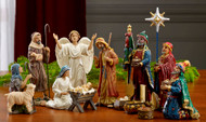 "14 Piece Nativity Set ~ Great Starter Set!    7"" High,  Star stands 9.5"" high.  These beautiful figures are made of polymer resin and have intricately hand painted details and dramatic, life-like faces that capture the Christmas story.  Includes the Holy Family, the Three Kings, an Angel, a Shepherd holding a Sheep and another Sheep. the baby Jesus can be held in Mary's arms or rest in the manger. Each set comes with the Original Gifts of Christmas in  separate chests filled with real 23K gold and pure, authentic, frankincense & myrrh from the same regions as the gifts brought 2000 years ago."