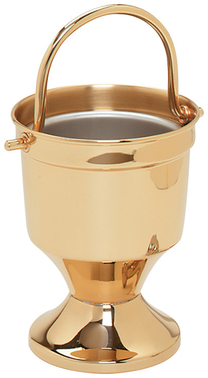 "Holy Water Pot with sprinkler. 7"" height. 5-1/4"" bowl diameter. Sprinkler 9-3/4"" length"