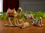 "Set of four animals to complement the 7"" Three King's Nativity Set  RLN030. Features a standing Camel, a sitting Camel, a Donkey, and an Ox. Beautiful figures with intricate detail and life-like features that capture the Christmas story. Measurements: Standing Camel (5"" x 4 7/8""), Sitting Camel (2 3/4"" x 3 3/4""), Donkey (4"" x 3 1/4"") , Ox (2 1/4"" x 3 3/4"")."