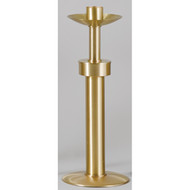 "Paschal Candlestick, Style 1493 - Finely crafted of solid brass, and hand finished in a satin surface then protected with a bronze lacquer. Weighted base for stability.  Brass Paschal Candlestick measures 45"" tall with 12"" diameter base. Sockets up to 3"" are available at standard price.  This paschal candlestick comes with standard socket to accommodate 1-15/16"" unless otherwise specified.  Please write your specific selection in box. MADE IN THE USA Complements Sanctuary Appointment items 1492 Processional Cross, 1494 Processional Candlesticks, 1493S Short Paschal Candle, 1493SL Sanctuary LIght"
